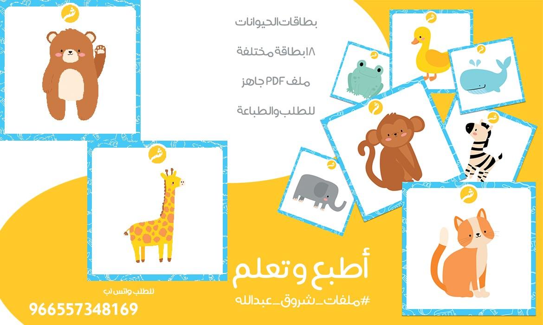 بطاقات (تعرف على الحيوانات) للأطفال